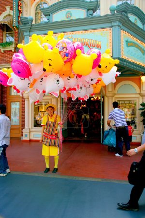 Tokyo Disneyland dynasty era Victorian-style street in the world market selling balloons girl