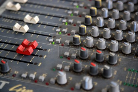 Sound mixer console closeup