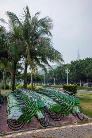 Road, Zhuhai, Guangdong couple waterfront green bike rental kiosks
