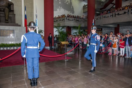 "Taipei, Taiwan, ""Sun Yat-sen Memorial Hall"" changing of the guard ceremony ceremonial soldiers punctual time"