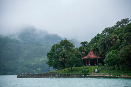 Taiwan's Sun Moon Lake in Nantou County, Lake View Pavilion, Chiang Kai-shek reportedly often in this front view of the lake