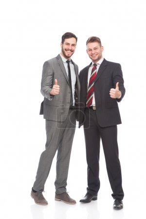 two businessmen show sign ok
