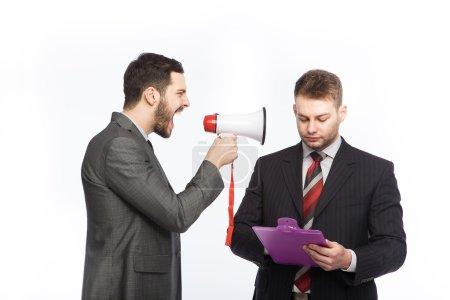 yelling businessmen