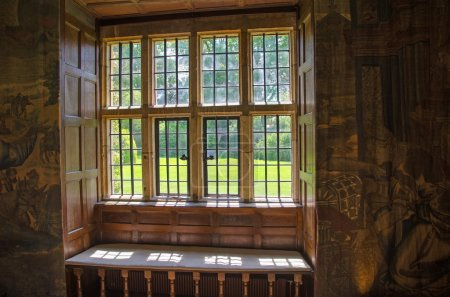 View through stone mullion window, England