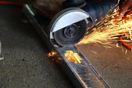 Metal cutter in use