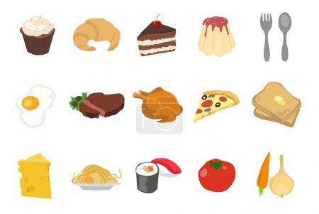 Illustration pour Ensemble d'icônes alimentaires isolées sur fond blanc - image libre de droit