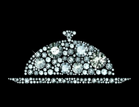 Illustration pour Cloche restaurant avec couvercle en diamants - image libre de droit