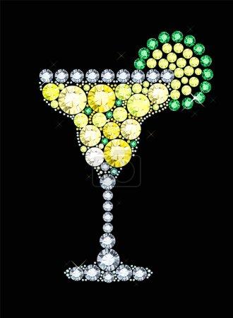Illustration pour Margarita faite de pierres précieuses isolées sur noir - image libre de droit