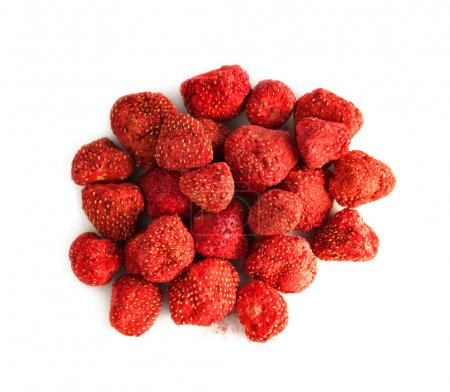 Freeze-dried berries, strawberries, isolated