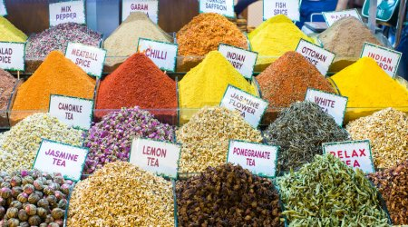 Different sorts of tea and spices on the Egyptian bazaar in Istanbul