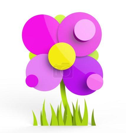 Photo pour Une fleur rendue composé principalement de cercles. peut être utilisé comme un logo ou l'icône. - image libre de droit