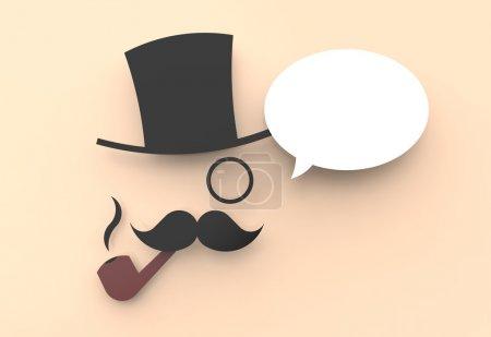 Photo pour Une jolie illustration d'un homme sage avec un chapeau haut de forme et une pipe, disant quelque chose dans un ballon de parole . - image libre de droit