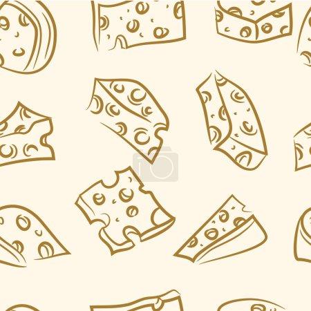 Illustration pour Modèle sans couture. set de fromage doodle - image libre de droit