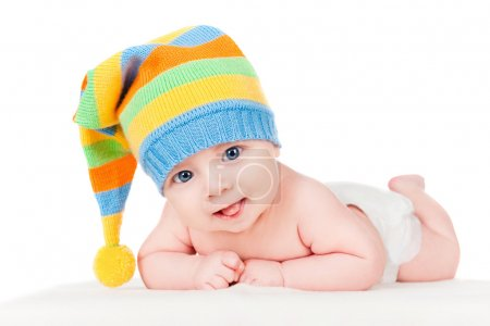 Photo for Baby in a cap, isolated on white - Royalty Free Image