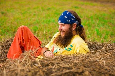 Hippie in the field