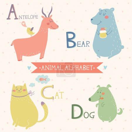 Animal alphabet. Cute vector zoo animals. Part 1