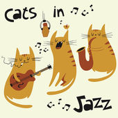 Cats in jazz vector illustration in cartoon style