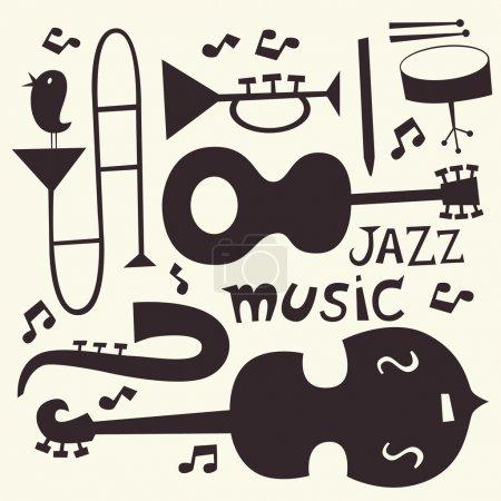 Illustration pour Ensemble vectoriel instruments jazz en noir et blanc. Guitare, contrebasse, trompette, trombone, batterie, clarinette - image libre de droit