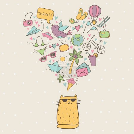 Illustration pour Love doodle voyage en couleur avec chat cool - image libre de droit