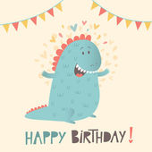 Happy birthday greeting card with cute dinosaur