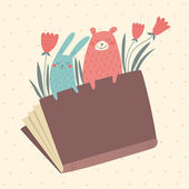 Vector illustration of bunny and bear in the book