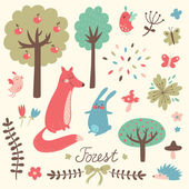 Cute forest vector set