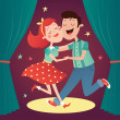 Vector illustration of a dancing couple in cartoon...