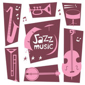 Jazz musical instruments vector set Double bass drums saxophone banjo trumpet trombone