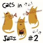 Постер, плакат: Cats in jazz vector set 2