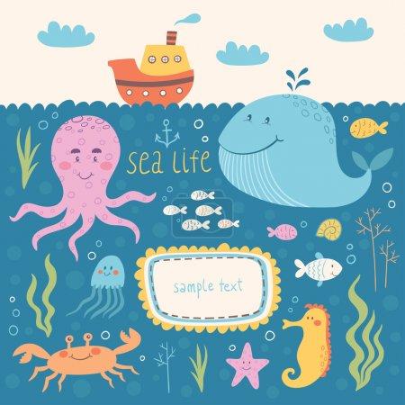 Photo pour Ensemble de vecteurs de vie marine. Illustrations vectorielles d'animaux marins : baleine, poulpe, méduses, hippocampe, crabe, poisson - image libre de droit