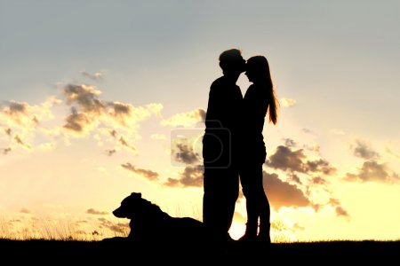 Photo for A silhouette of a married couple of man and woman share a loving hug and kiss at sunset, with their German Shepherd Dog laying in the grass - Royalty Free Image