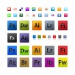 Various and Adobe icons set in different sizes iso...