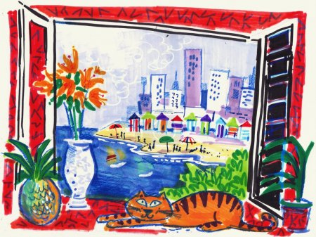 Fine art illustration of coastal resort scene from balcony with stylized cat.