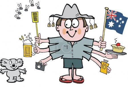 Vector cartoon of Australian man holding flag, fly swatter and pie