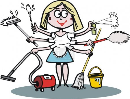 Illustration for Cartoon depicts smiling woman carrying out a multitude of household tasks. - Royalty Free Image