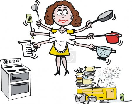 Illustration for Vector cartoon depicts smiling housewife with pots, pans, and cooking implements whilst doing kitchen chores such as washing up, and food preparation. - Royalty Free Image