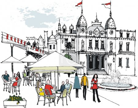 Vector illustration showing diners at outdoor restaurant near Monte Carlo casino.