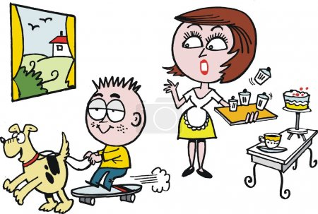 Vector cartoon of surprised woman in kitchen with noisy child