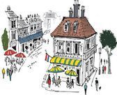 Vector illustration of small French village with cafes and