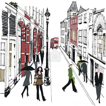 Illustration for Vector illustration of pedestrians in old London street. - Royalty Free Image