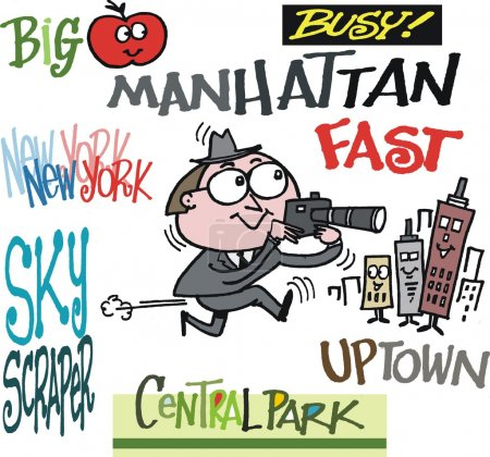 Vector cartoon of man taking photographs in New York with signs