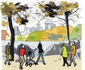 """Постер, картина, фотообои """"Векторная иллюстрация в Центральный парк, Нью-Йорк США"""""""