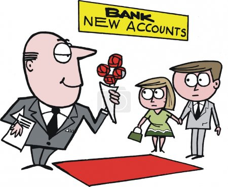 Vector cartoon of bank manager welcoming new customers