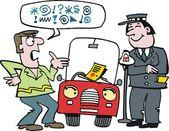 Vector cartoon of motorist arguing with traffic warden over ticket