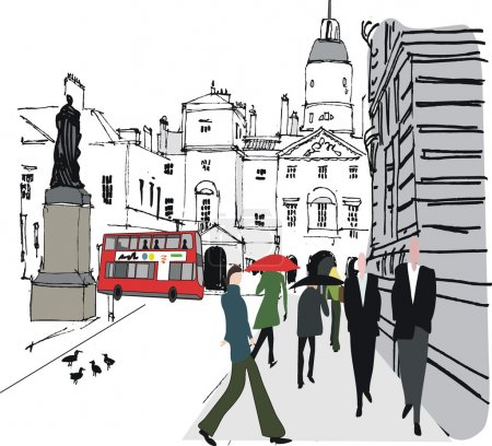 Illustration for Vector illustration of pedestrians in city street, Whitehall, London - Royalty Free Image
