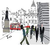 Vector illustration of pedestrians in city street Whitehall London