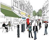 Vector illustration of London outdoor shopping mall and pedestrians