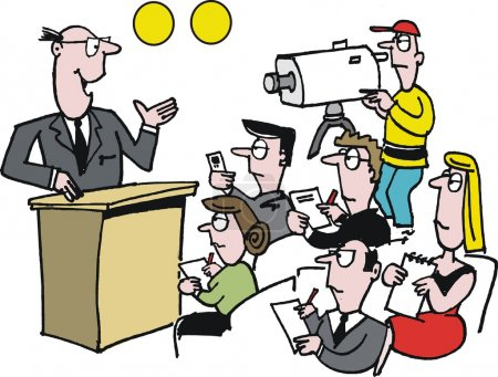 Vector cartoon of man giving television news conference