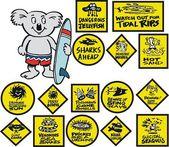Vector cartoon showing surfing koala with warning signs