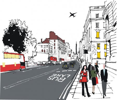 Illustration for Vector illustration of London city street with pedestrians - Royalty Free Image